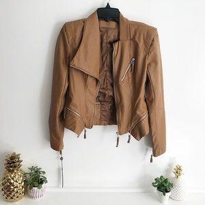 BlankNYC Asymmetrical Zip Moto Jacket in Tan